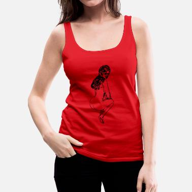 Naked Woman Drawing naked, squatting woman - Women's Premium Tank Top