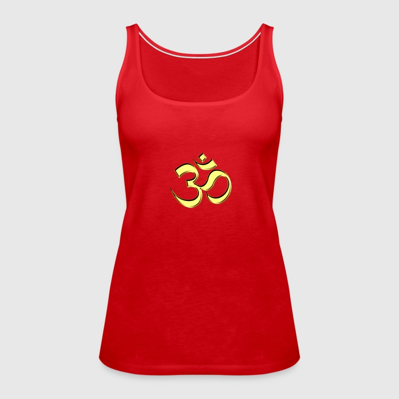 OM (AUM - I AM) - Sacred Symbol, gold, manifestation of spiritual strength, The energy symbol gives balance, peace and bliss - Women's Premium Tank Top