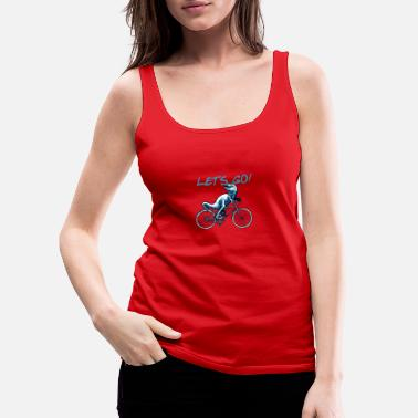 T-Rex on bicycle cycling cyclist gift - Women's Premium Tank Top