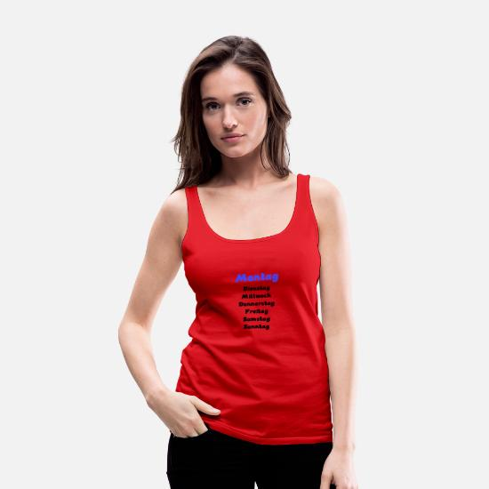 Days Of The Week Tank Tops - Week monday blue - Women's Premium Tank Top red