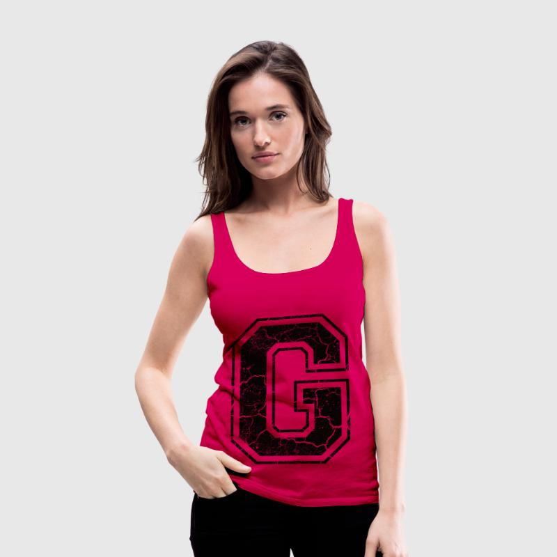 Letter G in the grunge look - Women's Premium Tank Top
