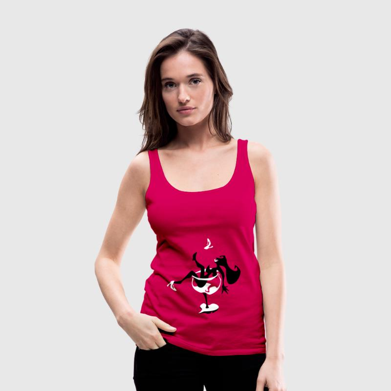 Wine Glass - Sexy Woman Silhouette - Women's Premium Tank Top