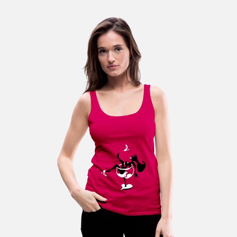 Alcohol Tank Tops - Wine Glass - Sexy Woman Silhouette - Women's Premium Tank Top dark pink