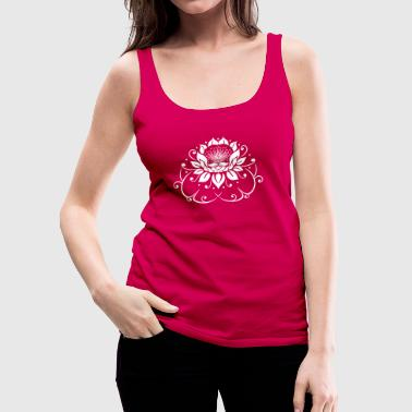 Water lily, lotus, lotus flower with leaves. Yoga. - Women's Premium Tank Top
