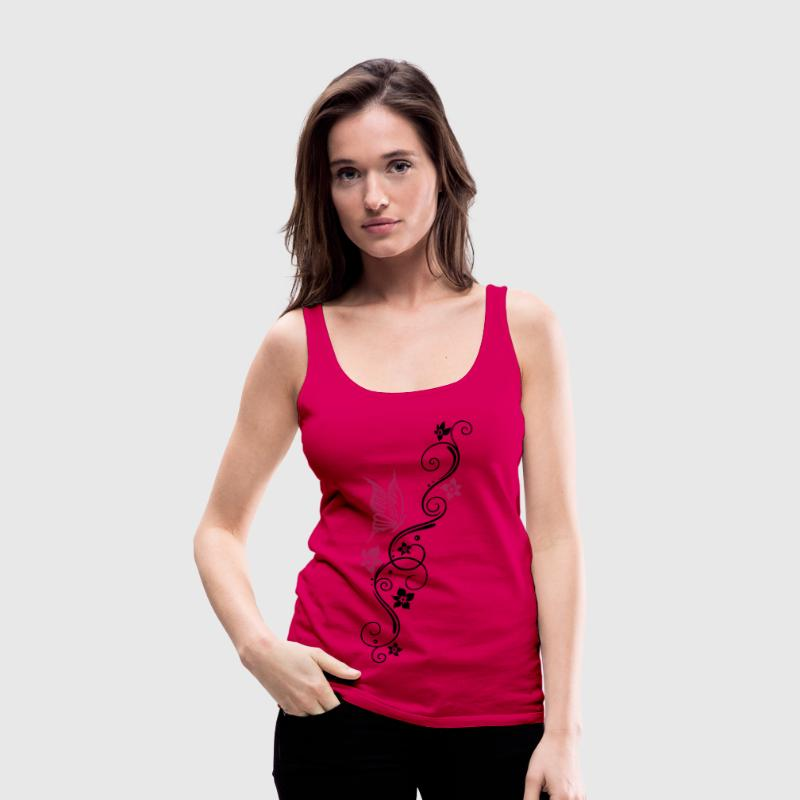 Butterfly with tribal ornament and flowers. - Women's Premium Tank Top