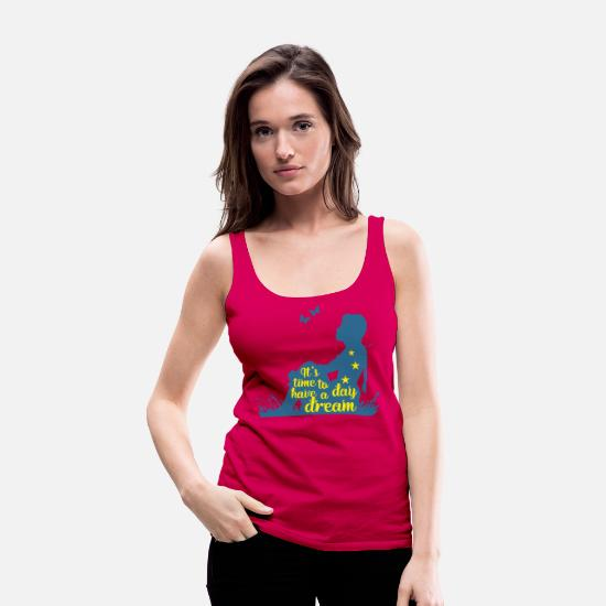 Wife Tank Tops - Silhouette Of A Girl - Time To Have A Day Dream 3 - Women's Premium Tank Top dark pink