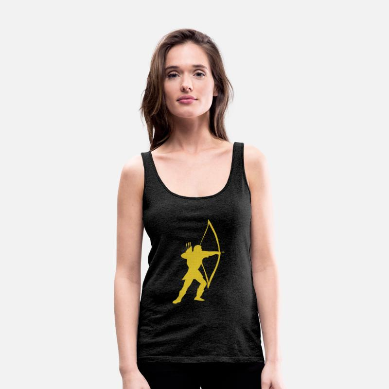 Long Bow Tank Tops - longbow archer medieval  - Women's Premium Tank Top charcoal grey