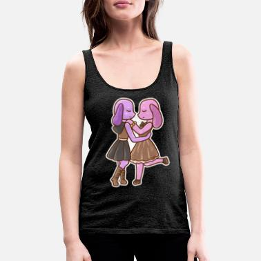 Comic Book Dog girl women lesbian in love gift - Women's Premium Tank Top