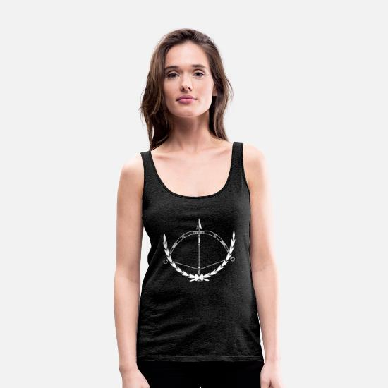 Arrow And Bow Tank Tops - Archer - Archer T-shirt - Bow - Women's Premium Tank Top charcoal grey