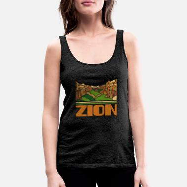 National Park Zion National Park Skyline Retro Cityscape 70s 80s - Women's Premium Tank Top