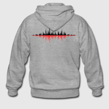 Red Sound Wave - Men's Premium Hooded Jacket