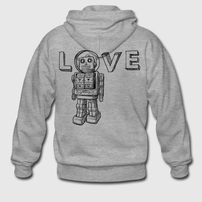 Love Robots Gifts for kids, boy, girl, adults, dad - Men's Premium Hooded Jacket