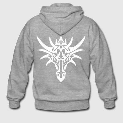 Tribal White Dragon - Men's Premium Hooded Jacket