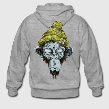 Monkey with hat - Men's Premium Hooded Jacket