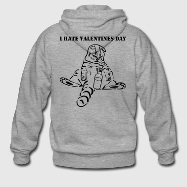 funny cat i hate valentines day - Men's Premium Hooded Jacket