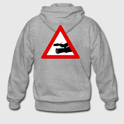 Warning triangle with camera - Men's Premium Hooded Jacket