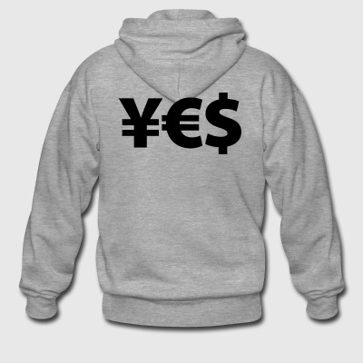 YES Yen Euro Dollar I love Money Money Wealth - Men's Premium Hooded Jacket