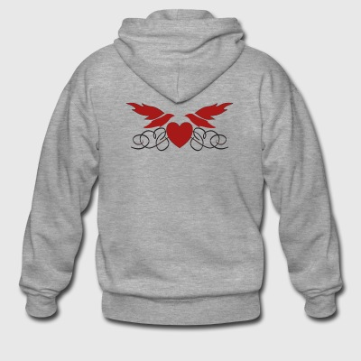 Heart with wings - Men's Premium Hooded Jacket