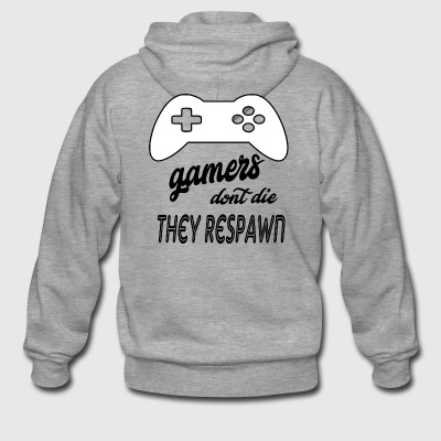 gamers dont die they respawn - Men's Premium Hooded Jacket