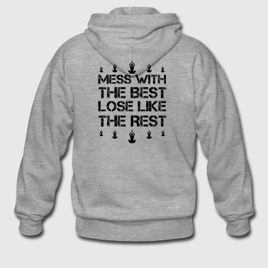 Mess with best loose king queen yoga 7 gift - Men's Premium Hooded Jacket