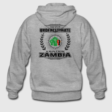 Never underestimate man Roots ZAMBIA png - Men's Premium Hooded Jacket