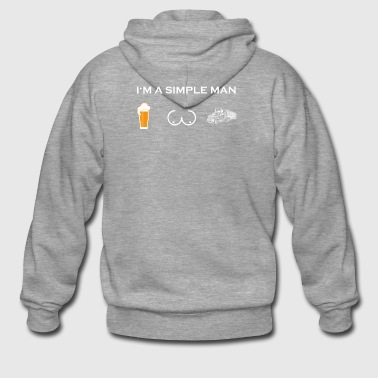 simple man like boobs beer beer tits truck driver - Men's Premium Hooded Jacket