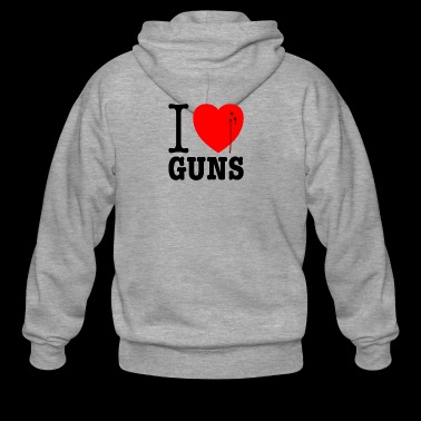 I love guns! Weapons satire. Bullet hole with blood - Men's Premium Hooded Jacket