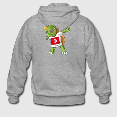 Tunisia Dabbing turtle - Men's Premium Hooded Jacket