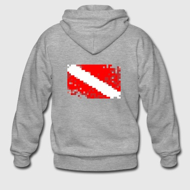 Scuba Diver Flag Pixelated / Pixelated Flag - Men's Premium Hooded Jacket