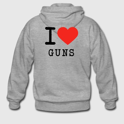 I love guns - Men's Premium Hooded Jacket