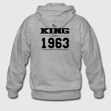 Her King since Partner Valentine's Day couple 1963 - Men's Premium Hooded Jacket