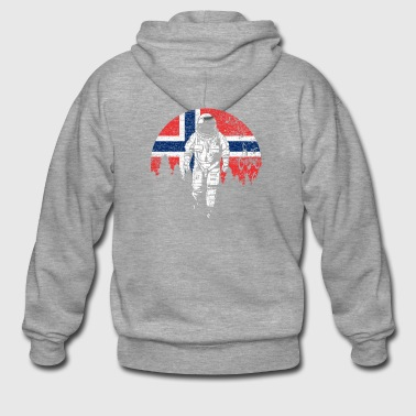 Astronaut Norway flag moon - Men's Premium Hooded Jacket