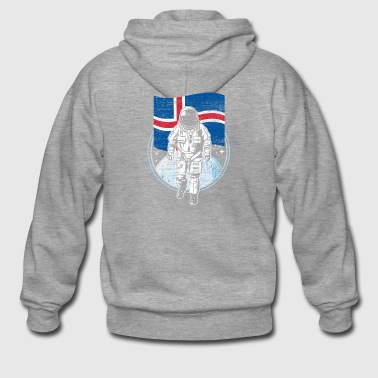 Iceland flag in outer space - Men's Premium Hooded Jacket