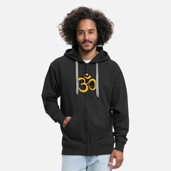 Buddhism Hoodies & Sweatshirts - Sanskrit Sign OM Buddha Shiva Meditation Yoga aum - Men's Premium Zip Hoodie black