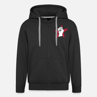 Communist revolution fist (for black shirts) - Men's Premium Zip Hoodie