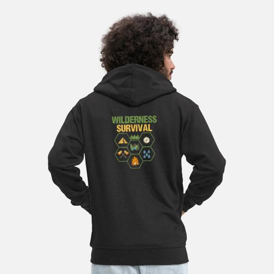 Forest Hoodies & Sweatshirts - Wilderness survival survival survival training - Men's Premium Zip Hoodie black