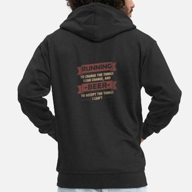 Funny Funny Quotes> Running + Beer - Men's Premium Hooded Jacket