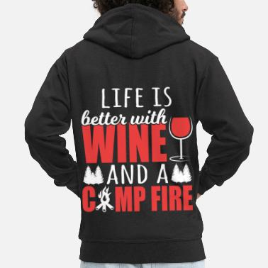 Gin A Wine Tee For Campers Life Is Better With Wine - Men's Premium Zip Hoodie