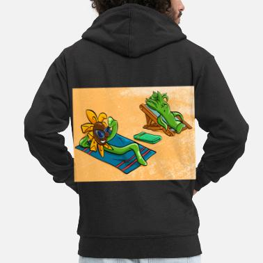 Wave It's A Summer Tee With Plants Sunbathing Tshirt - Men's Premium Zip Hoodie