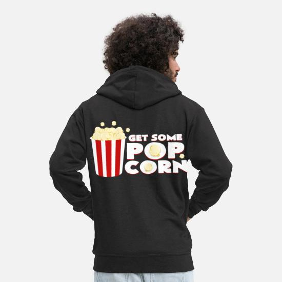 Birthday Hoodies & Sweatshirts - Cinema popcorn - Men's Premium Zip Hoodie black