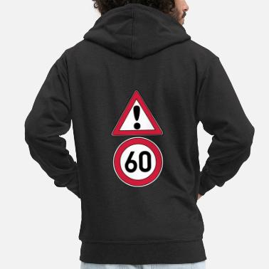 Date Of Birth 60th birthday, attention 60 ... + - Men's Premium Zip Hoodie