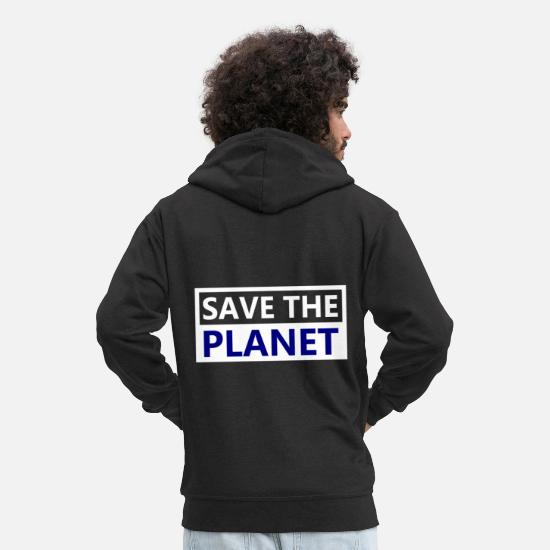Enviromental Hoodies & Sweatshirts - Save the planet Earth - Men's Premium Zip Hoodie black