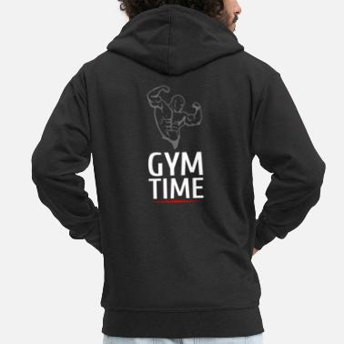 Arnold Gym Time Body Builder strength training muscle building - Men's Premium Zip Hoodie