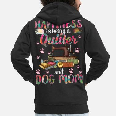 Bowling Happiness Is Being A Quilter And Dog Mom Funny - Men's Premium Zip Hoodie