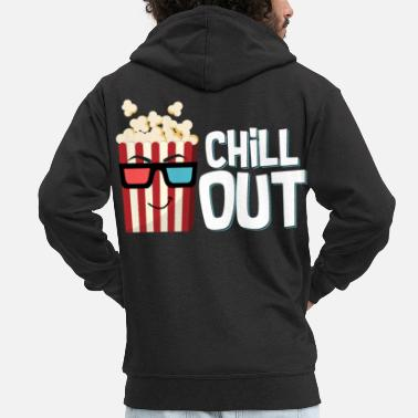Cola Popcorn, chill out popcorn bag with glasses as a snack - Men's Premium Zip Hoodie
