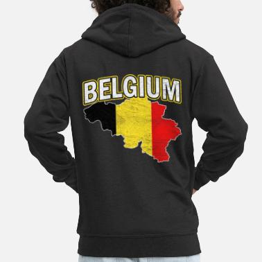 National Colours Belgium Nation Nationality - Men's Premium Zip Hoodie