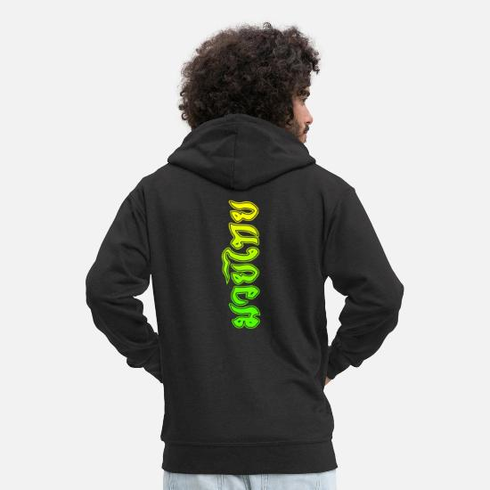 Mma Hoodies & Sweatshirts - Muay Thai Lime Script - Men's Premium Zip Hoodie black