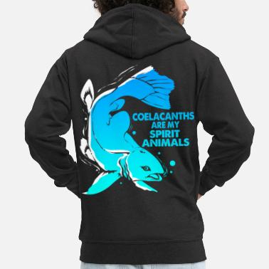 Spiritual Coelacanth Extinct fossil fish gift - Men's Premium Zip Hoodie