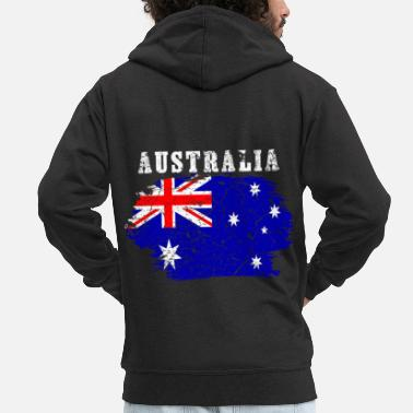 Emblem Australia Flag Countries Down Under Vintage - Men's Premium Zip Hoodie