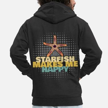 Coral Starfish Makes Me Happy Starfish - Men's Premium Zip Hoodie